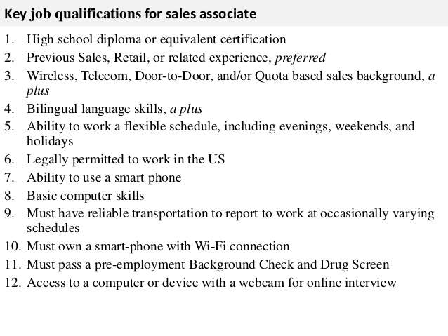 Sales Associate Job Descriptions For Resume - Samplebusinessresume