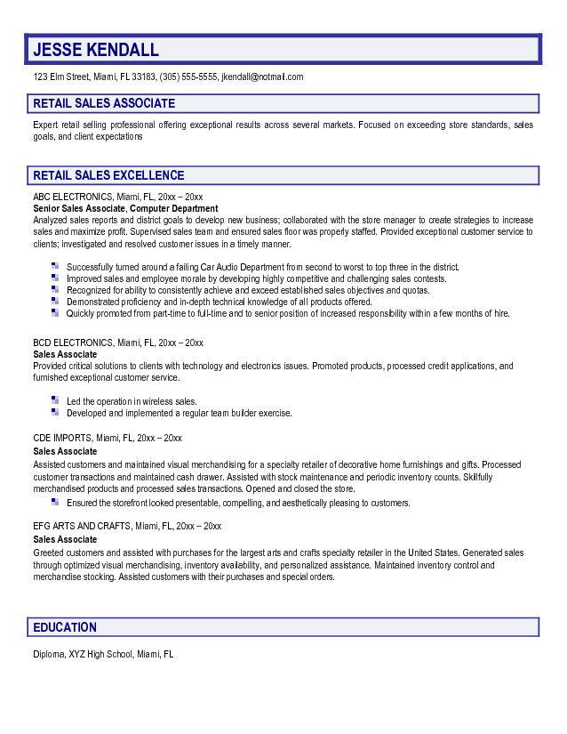 Sales Associate Resume Objective Retail Sales Associate Jesse Kendall  Resume Objective Retail