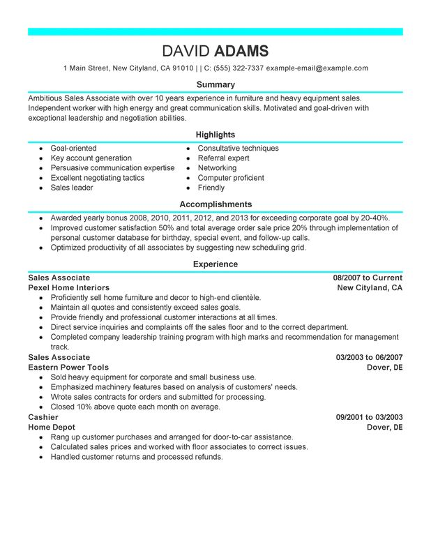 Sales associate resume sample sales associate customer for Sample resume for sales associate and customer service