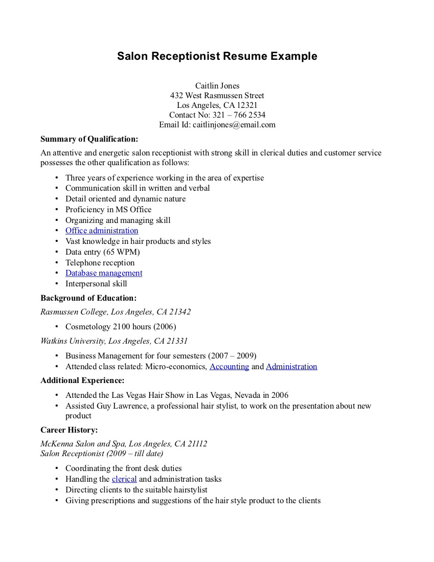 salon recetionist resume sample customer service duties resume b y caitlin jones