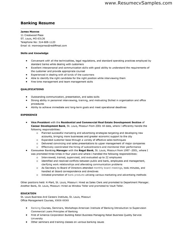 Sample Banking Resume. Sample Resume For Bank Teller Bank Teller ...