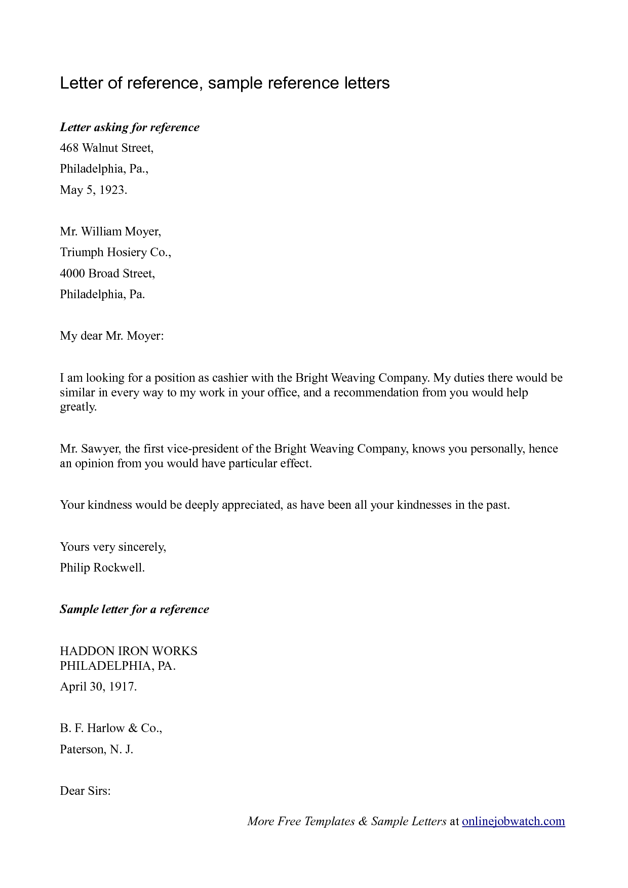 recommendation letter for a company template - sample reference letter reference letter template for