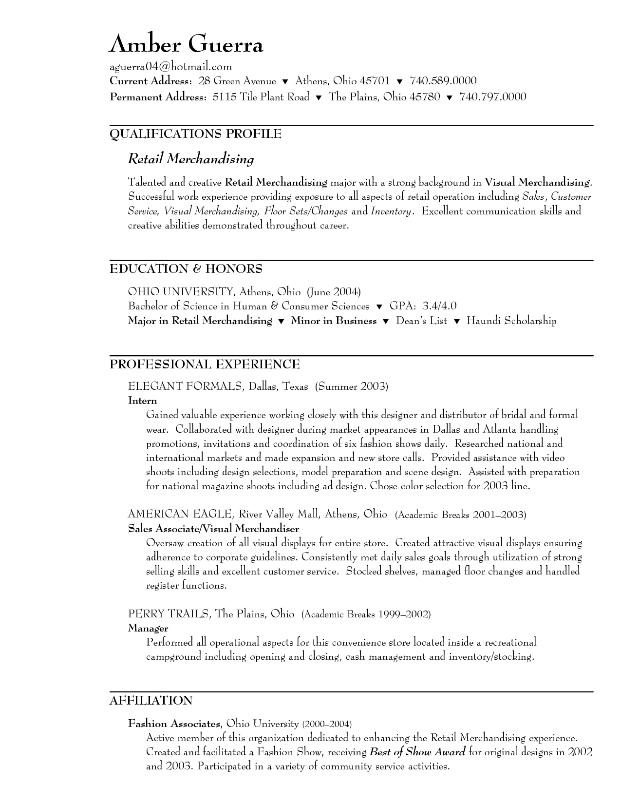 Resume for a clothing store