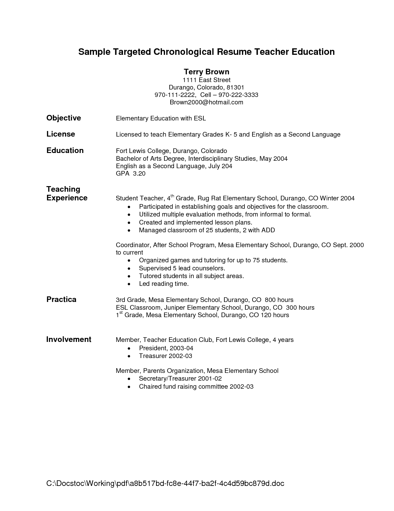 sample targeted chronological resume teacher education general objective resume by terry brown