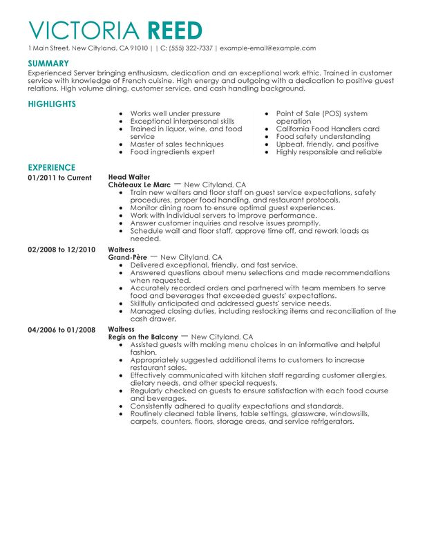 server food and restaurant server resume samples by victoria reed ...