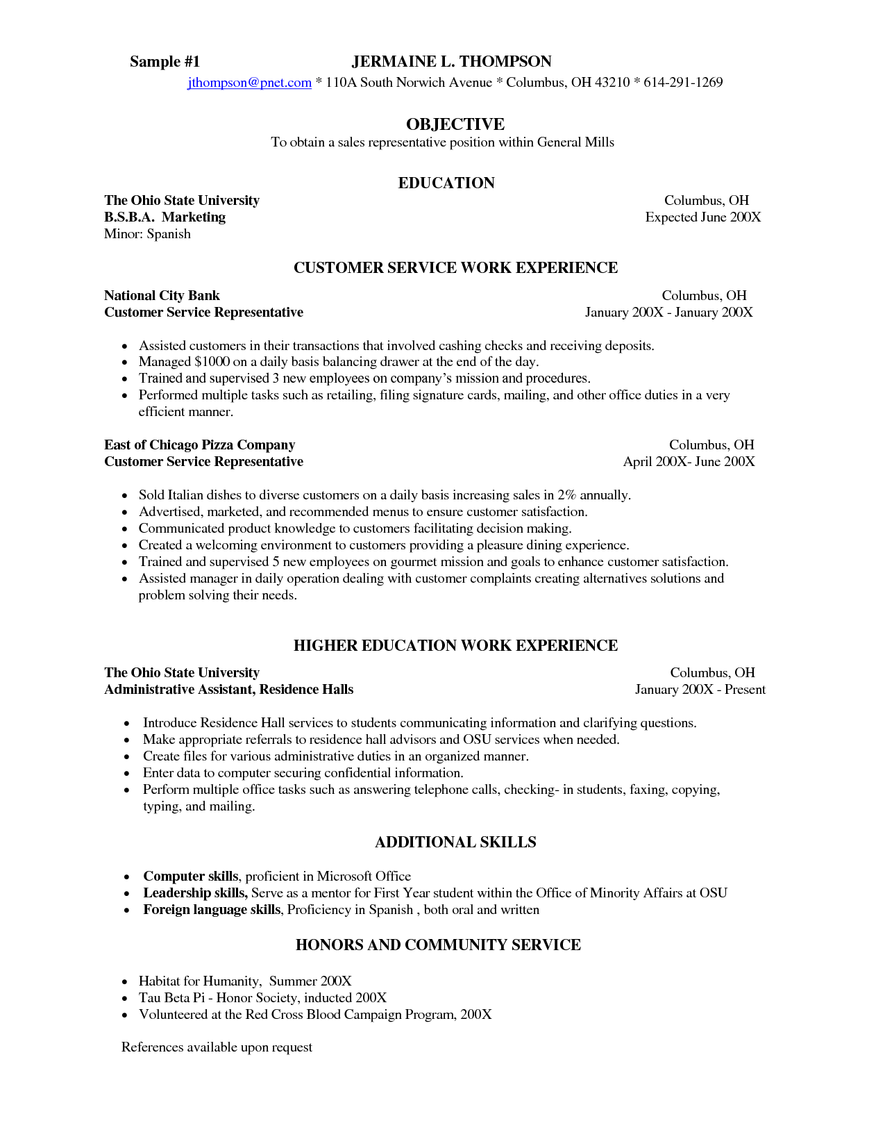 Servers Position For Resume Server Description