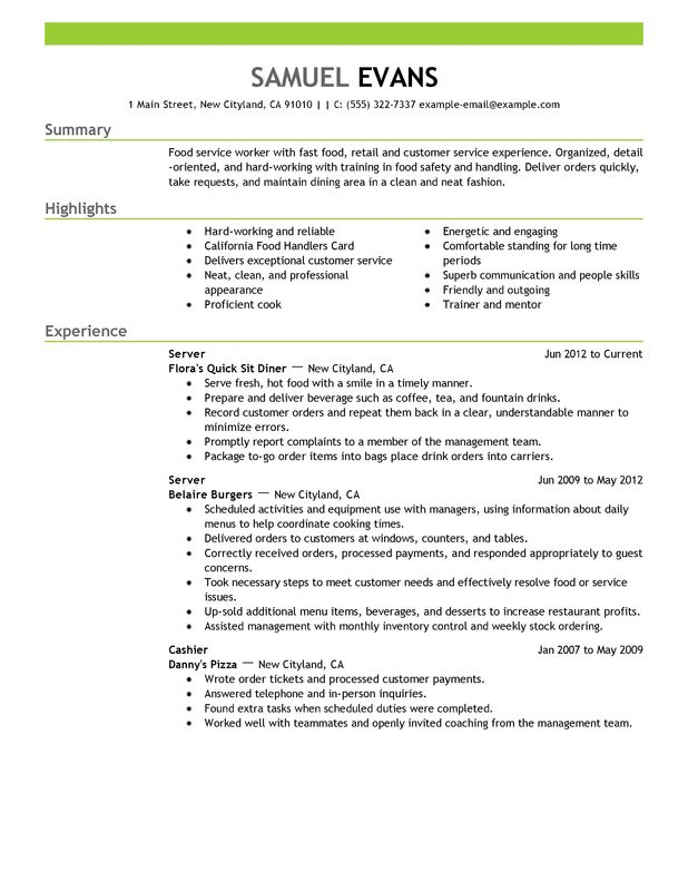 10 Simple Server Job Description Resume - Samplebusinessresume.Com