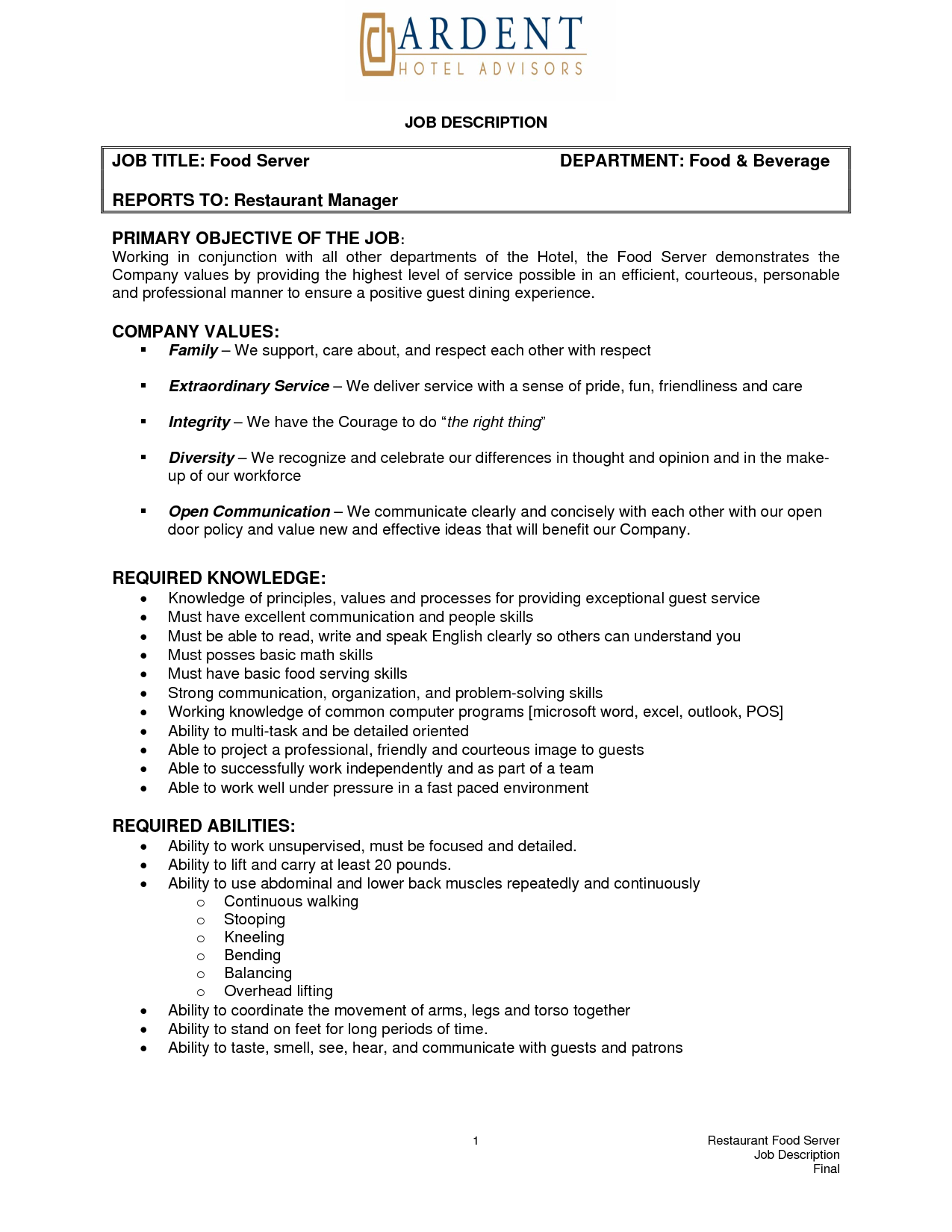 Server Job Description Resume Server Job Description