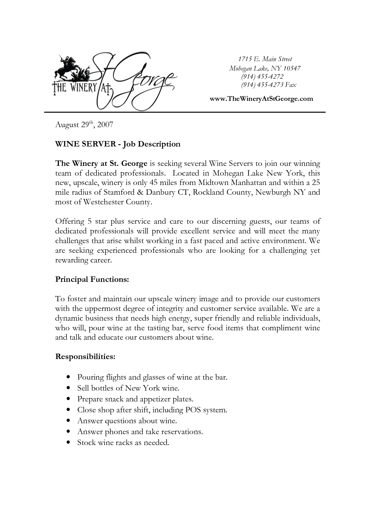 server job description server job description resume george