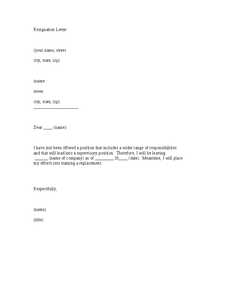 simple letter of resignation template letter of resignation template