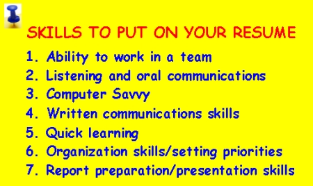 skills to put on resume good skills to put on a resume for fast food