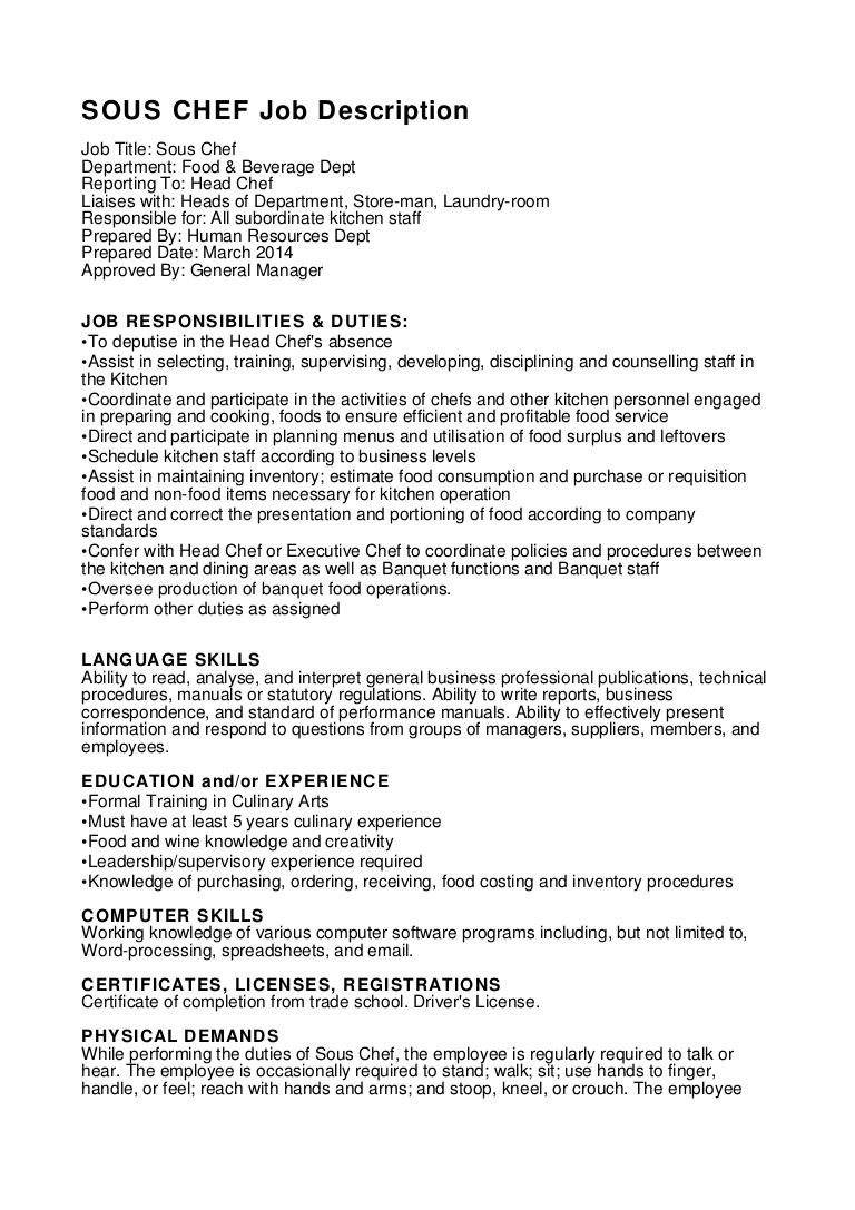 sous chef job description pdf