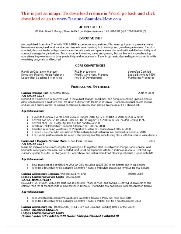 resume for sous chef - Sous Chef Resume