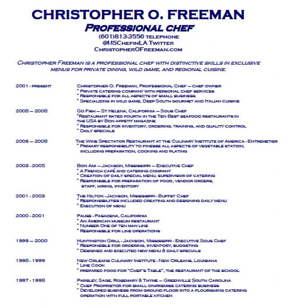 sous chef resume job description chef resume examples christopher o freeman - Chef Resume Example