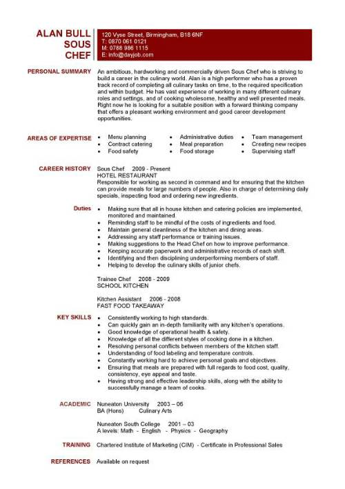 the best sample resume for sous chef