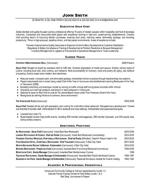 Marvelous Sous Chef Resume Templates Executive Sous Chef Resume John Smith  Sous Chef Resume