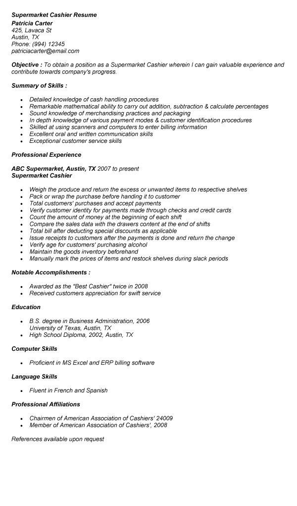 supermarket cashier duties resume cashier