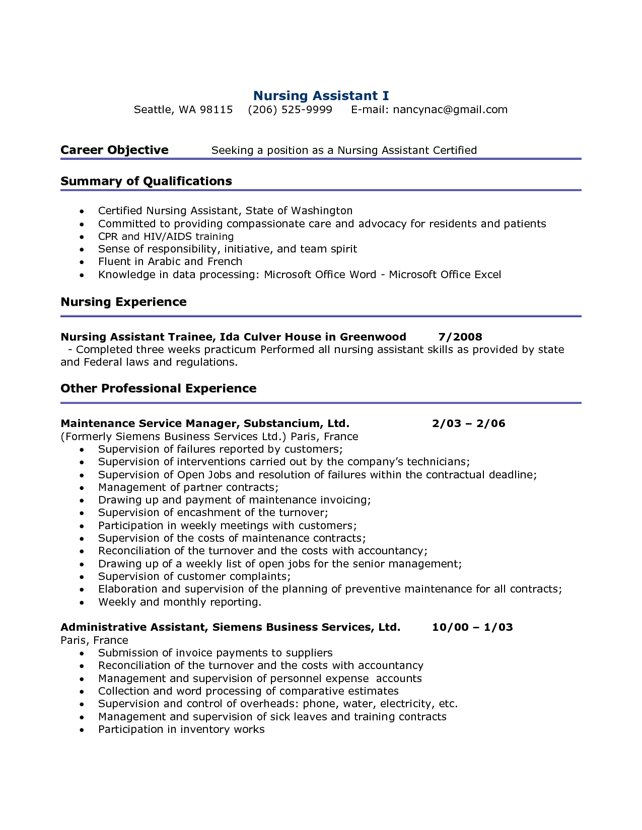 sample care nurse resumes