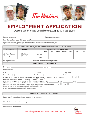 tim hortons employment application form tim hortons application online