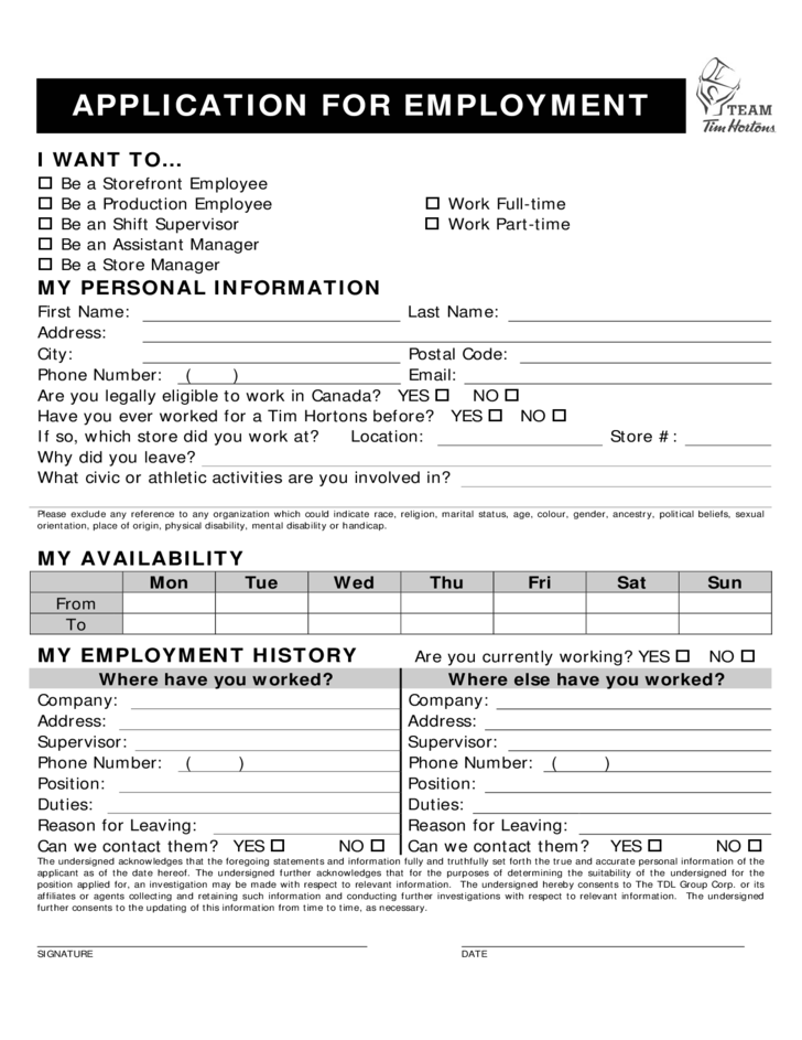 Tim Hortons Employment Application Form Tim Hortons