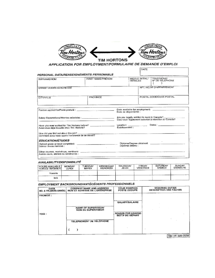 tim hortons job application for employment form tim hortons application paper
