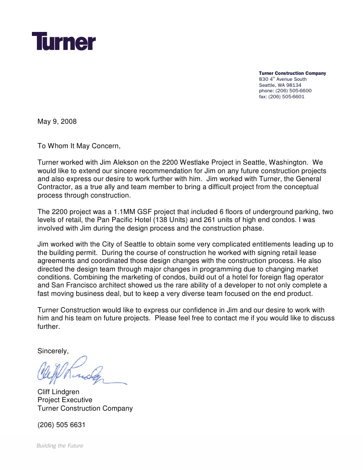Turner Construction Letter Of Recommendation Recommendation Letter