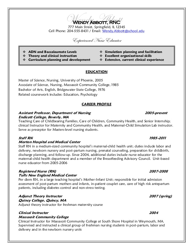 Undergraduate Nursing Student Resume Resume After Wendy Abbott  Nursing Student Resume Clinical Experience