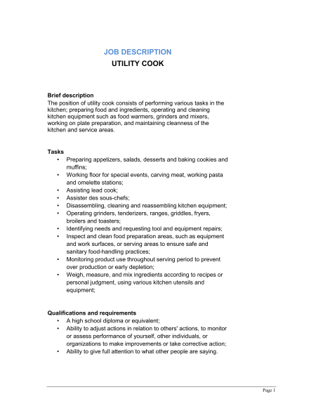 utility cook job description executive sous chef job description sample