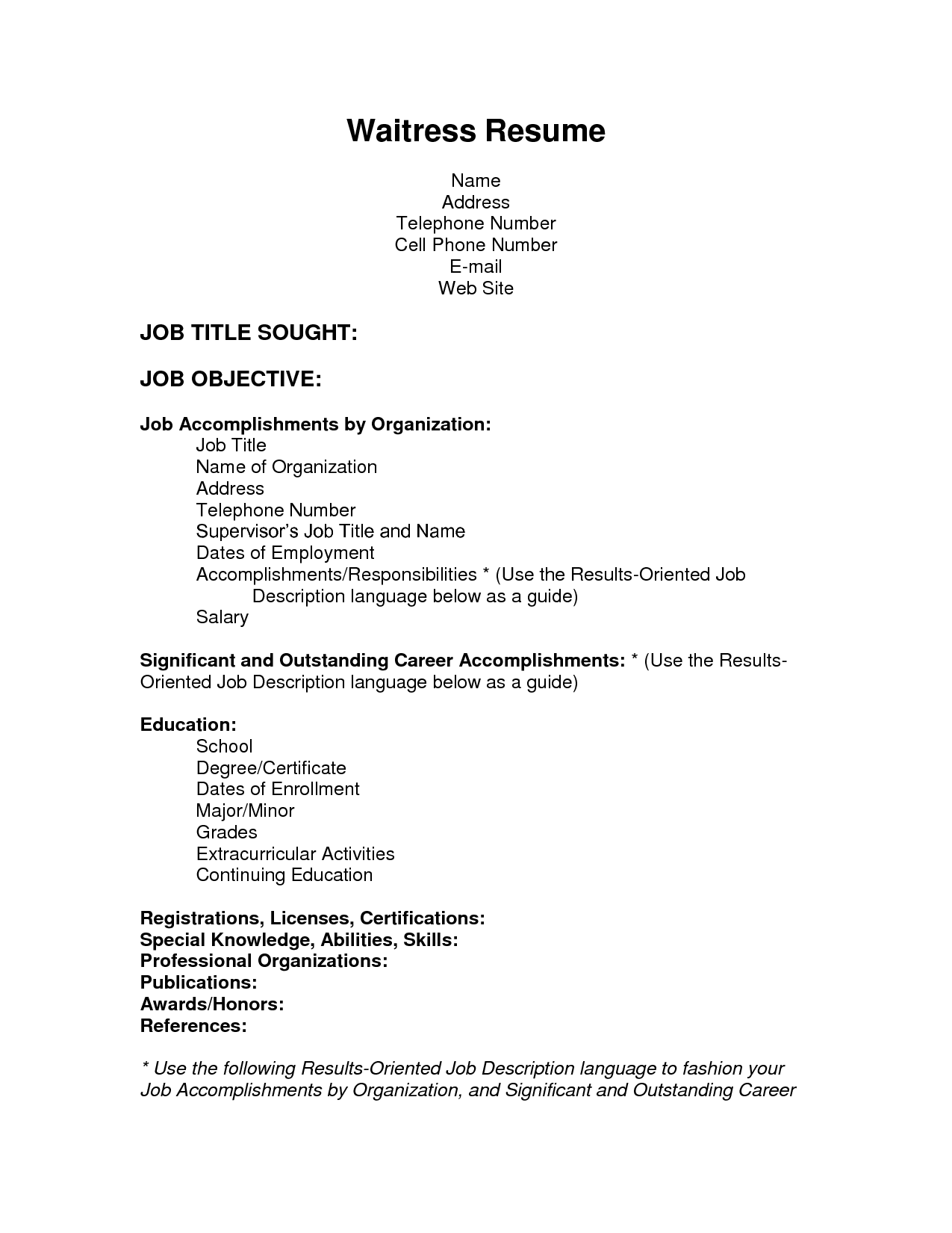 waitress description for resume sles waitress