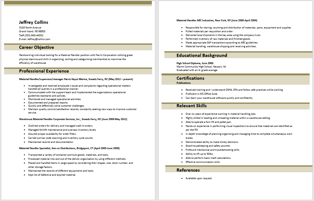 10 material handler resume sample samplebusinessresumecom samplebusinessresumecom