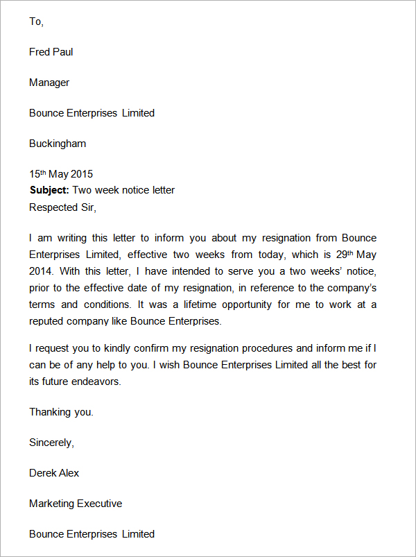 Two Weeks Notice Letter Resignation - SampleBusinessResume.com ...