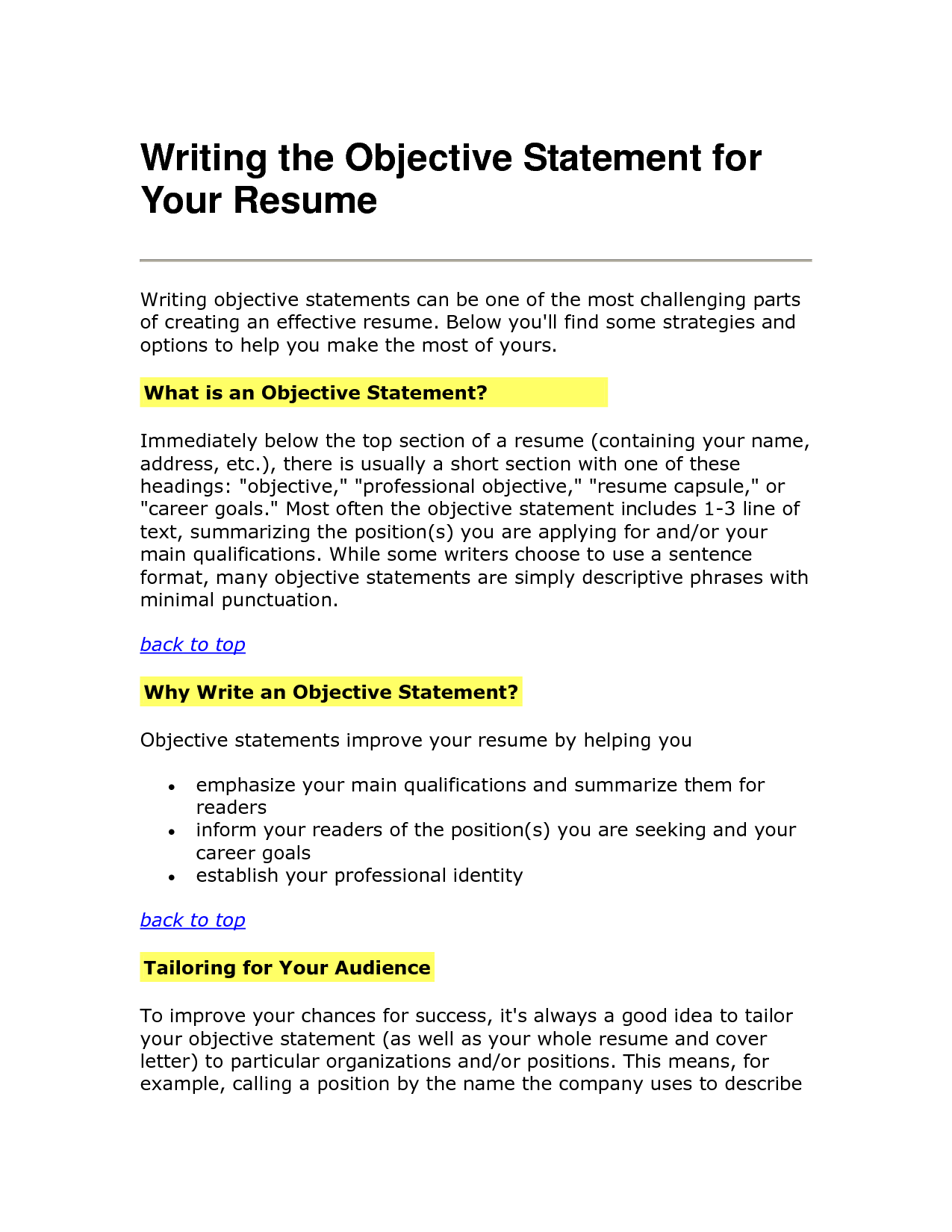 objective resume statement