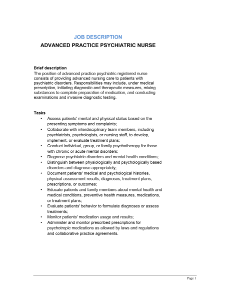 Advanced Practice Psychiatric Registered Nurse Job Description include Brief description Task manager