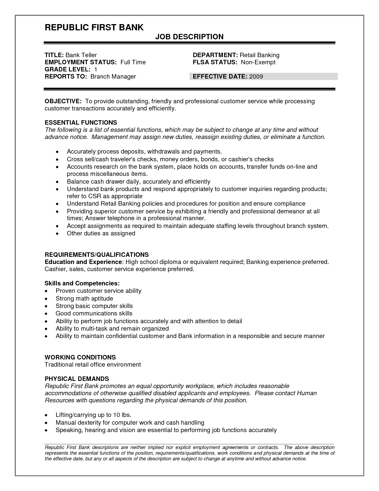Bank Teller Resume Description Skills of a Bank Teller