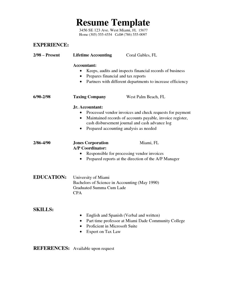simple resume format examples - Format Of A Simple Resume