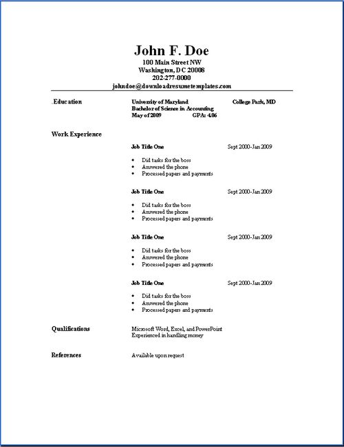 Basic Resumes On  And Basic Resume Templates Resume And