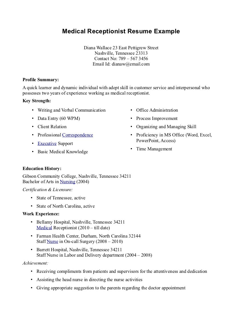 Medical Receptionist Resume Sample. Front Desk ...