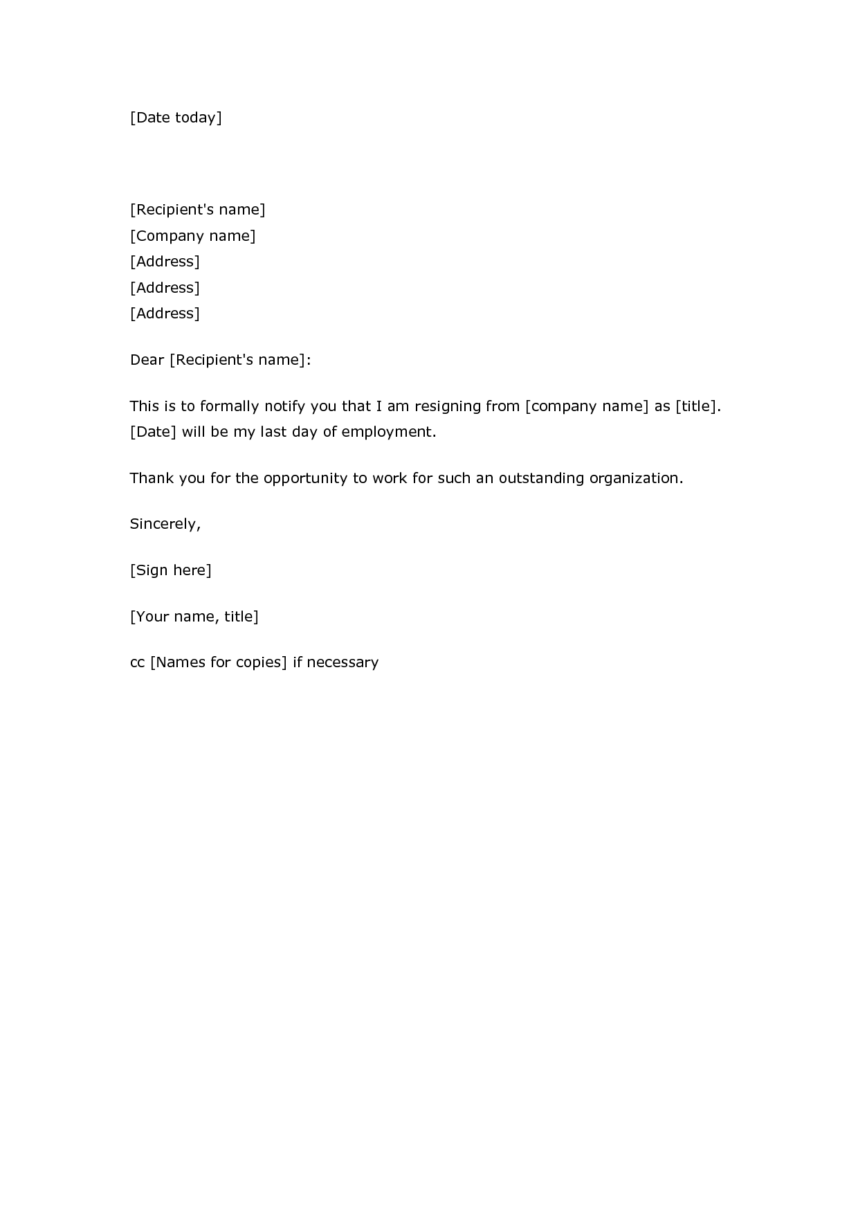 Blank Printable Letter of Resignation Letter