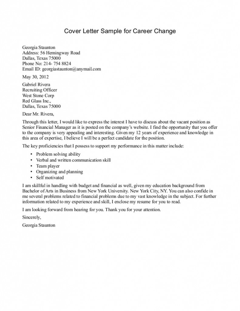 10 sample of career change cover letter for Cover letter no address of employer