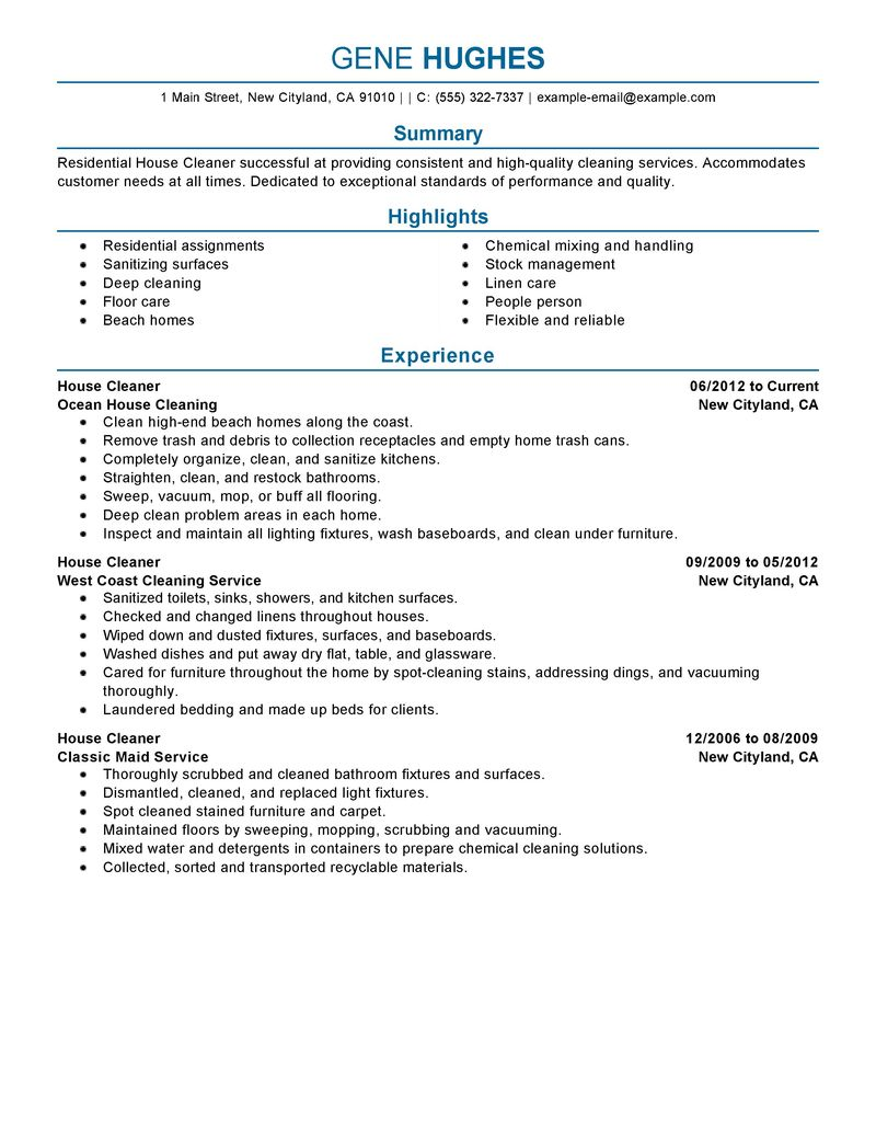 10 house cleaning resume example