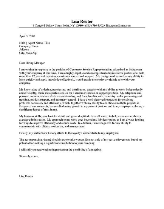 Cover Letter Samples For Customer Service Cover Letter Samples For Customer Service