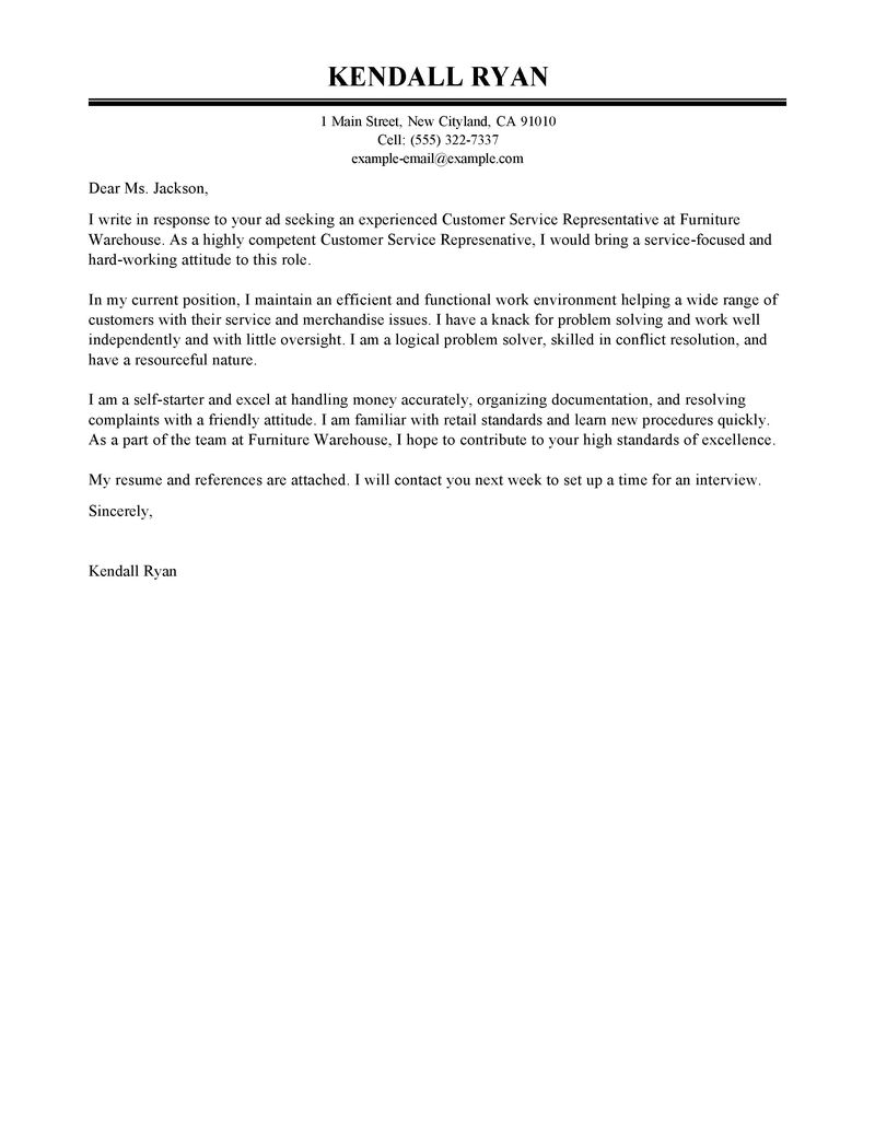 Customer Service Representative Cover Letter Sample With Cover