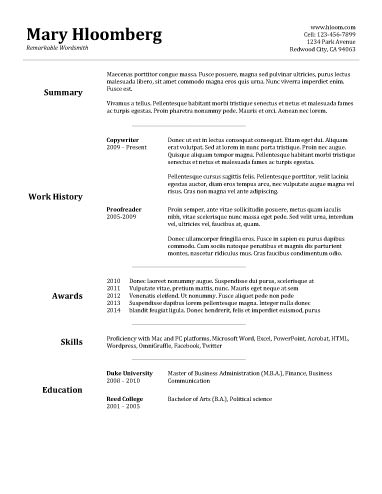 Easy Basic Resume Builder Goldfish Bowl summary and work history