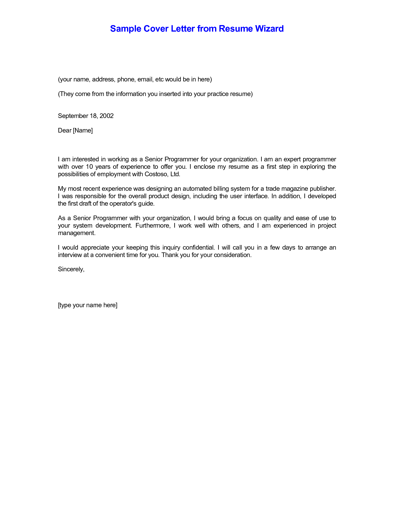 cover letter email template