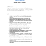 Examples of Related Documents Registered Nurse Job Description Nurse Practitioner