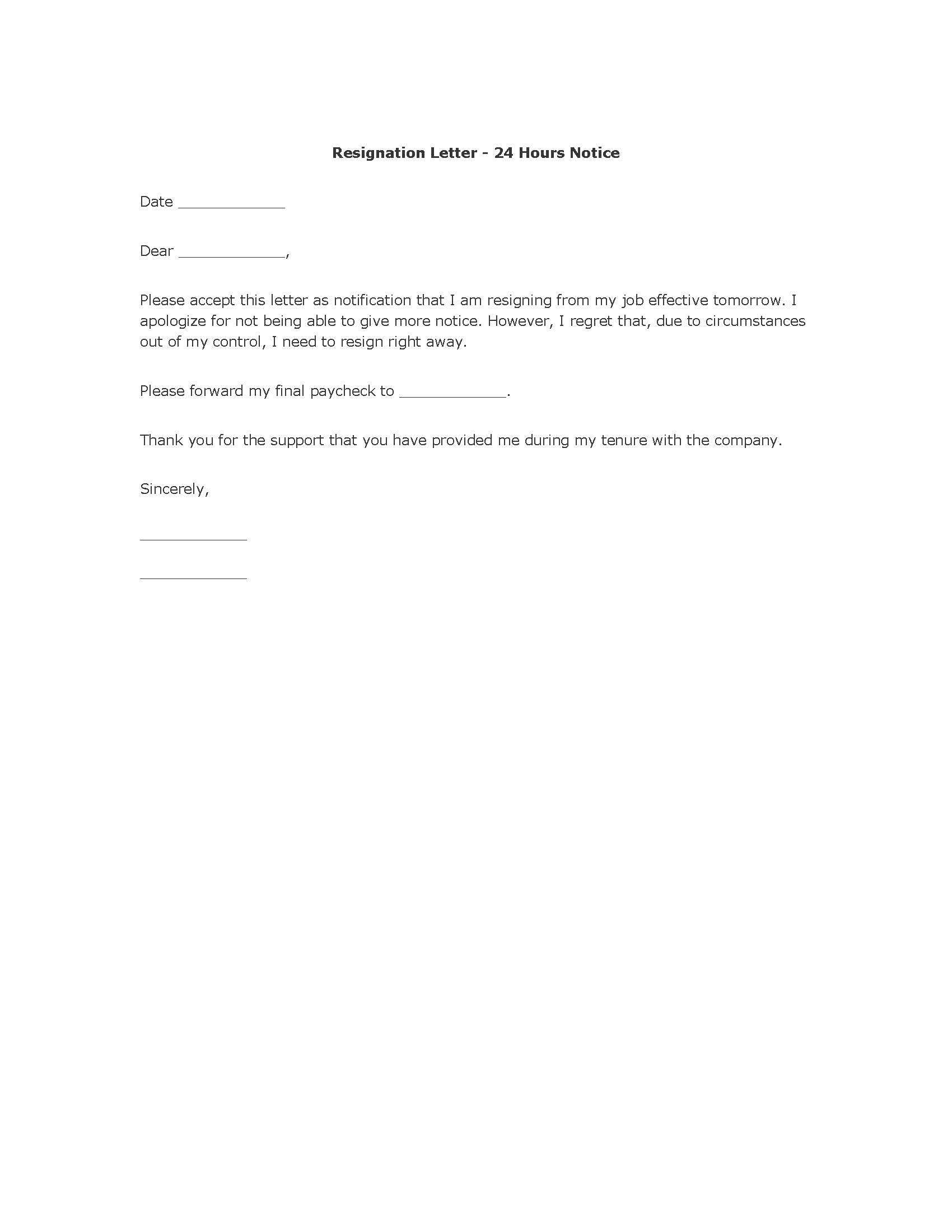 Free Resignation Letter Template 24 hour notice