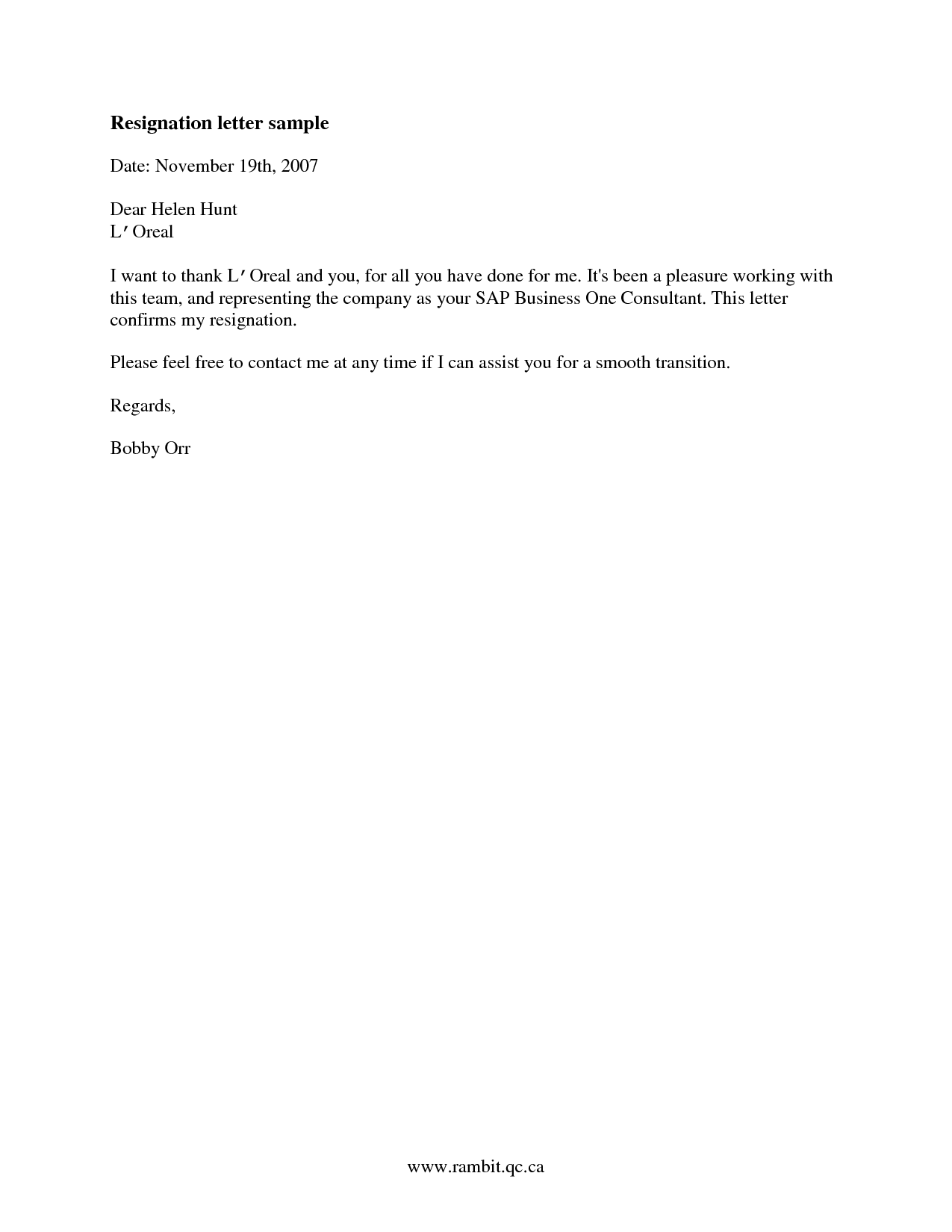 Free Short Notice Resignation Letter Example