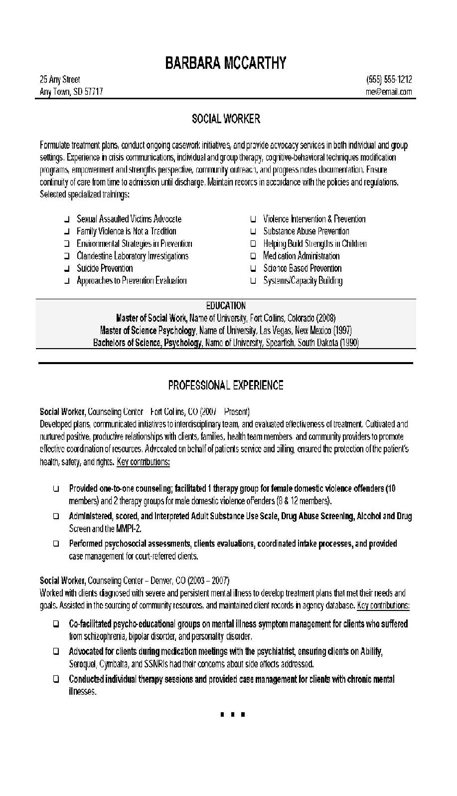 free social work resume templates to goals and objectives