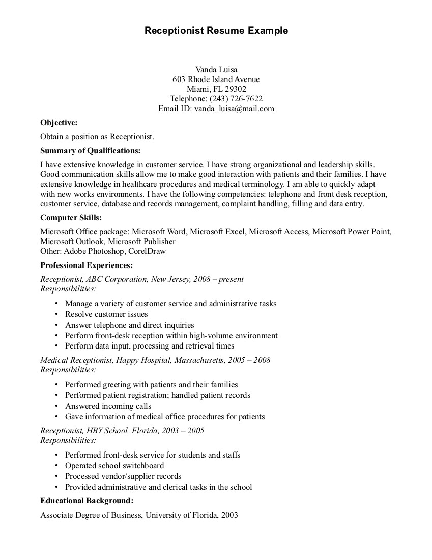 Front Desk Receptionist Job Resume for medical office resume and Medical Receptionist Objective Examples