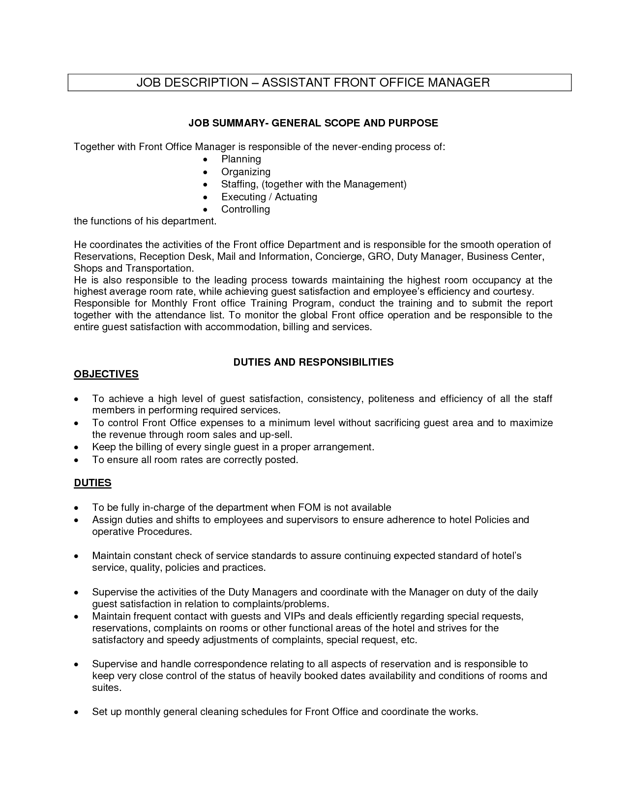 front office manager job description office assistant job description - Resumes For Office Jobs